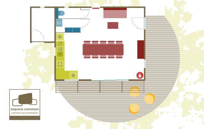 espace commun : cuisine, salle à manger